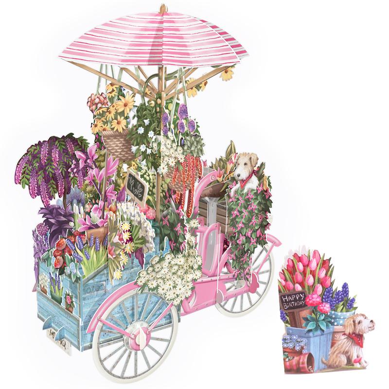 ミーアンドマックキュー/シングルカード/Happy Birthday: Pink Bicycle with Flowers