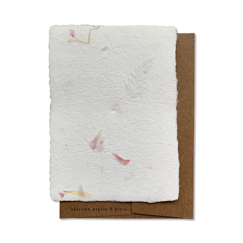 OBLATION/シングルカード/6 Floral Wallet Sheets with 6 Kraft Enevelopes,Tied With Ribbon