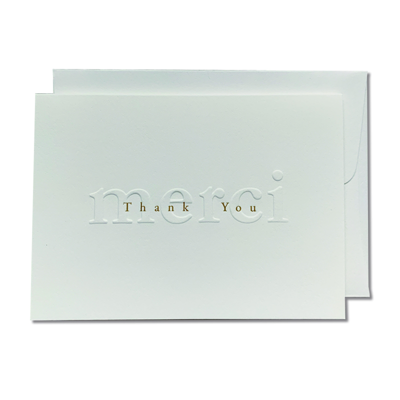 OBLATION/ボックスカード/Gilded Age Merci Thank you Cards With 6 White Envelopes