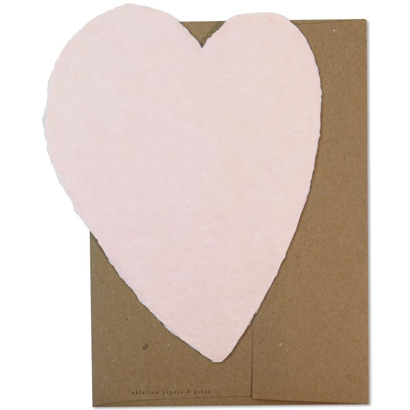 OBLATION/シングルカード/Large Pink Heart with Kraft Envelope