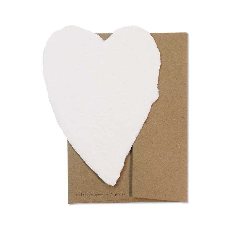 オブレイション/シングルカード/Small Cream Heart with Kraft Envelope