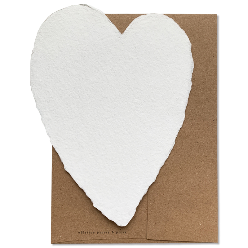 OBLATION/シングルカード/Large White Heart With Kraft Envelope