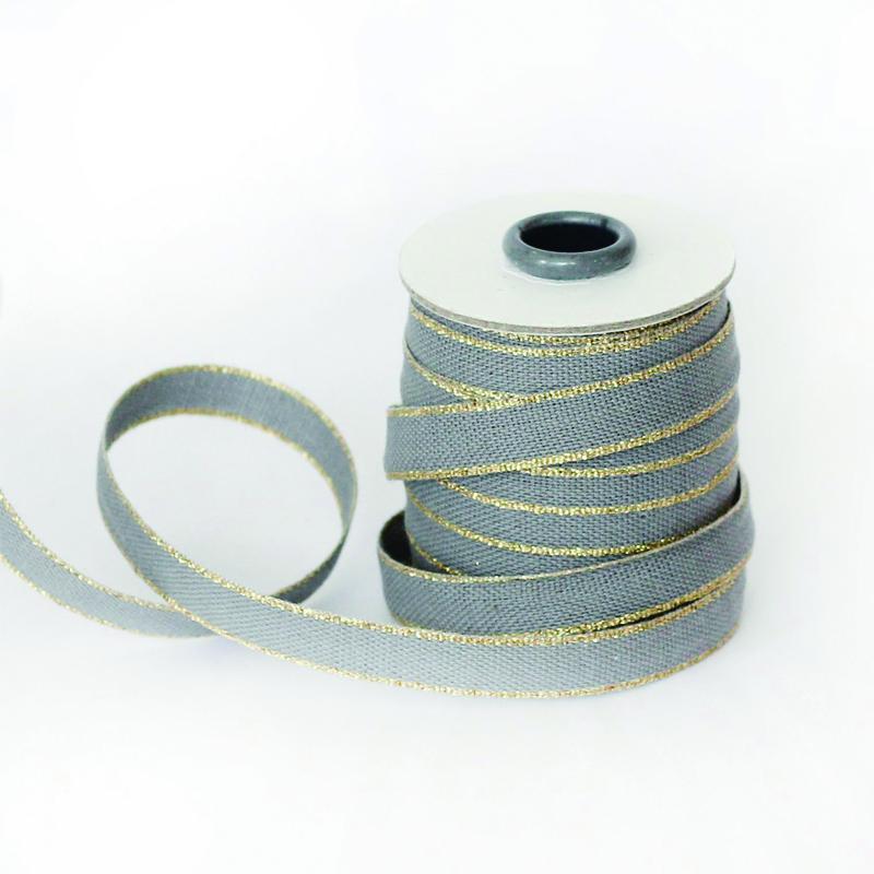 スタジオ・カルタ/コットンリボン/Drittofilo Cotton Ribbon - Gravel/Gold