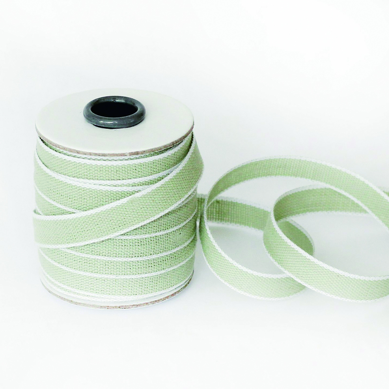Studio Carta/コットンリボン/Drittofilo Cotton Ribbon - Sage/White