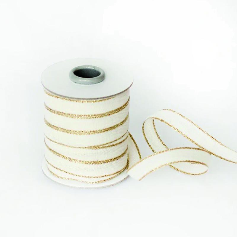 Studio Carta/コットンリボン/Drittofilo Cotton Ribbon - Natural/Gold