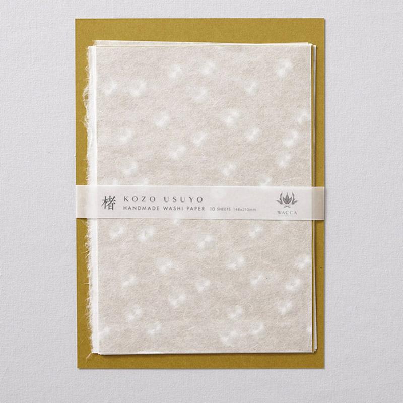 WACCA/和紙/手漉き楮薄様紙 引っ掛け水玉 A5 10枚入