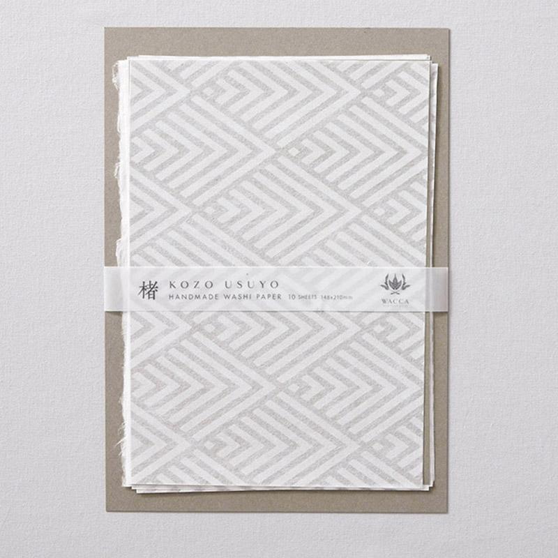 WACCA/和紙/手漉き楮薄様紙 菱青海波 A5 10枚入