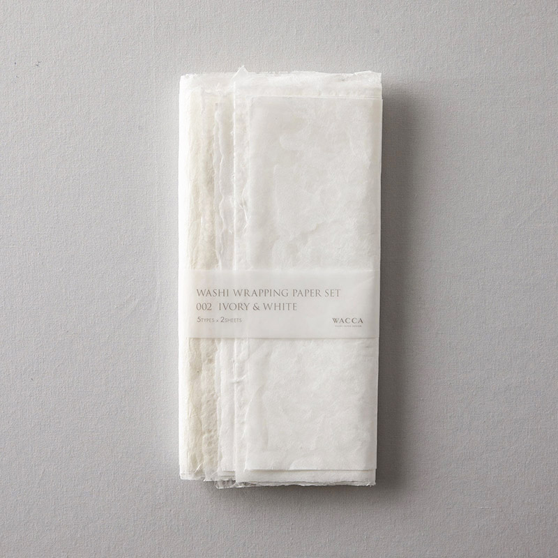 WACCA/ラッピングペーパー/Washi Wrapping Paper Set 002 Ivory&White