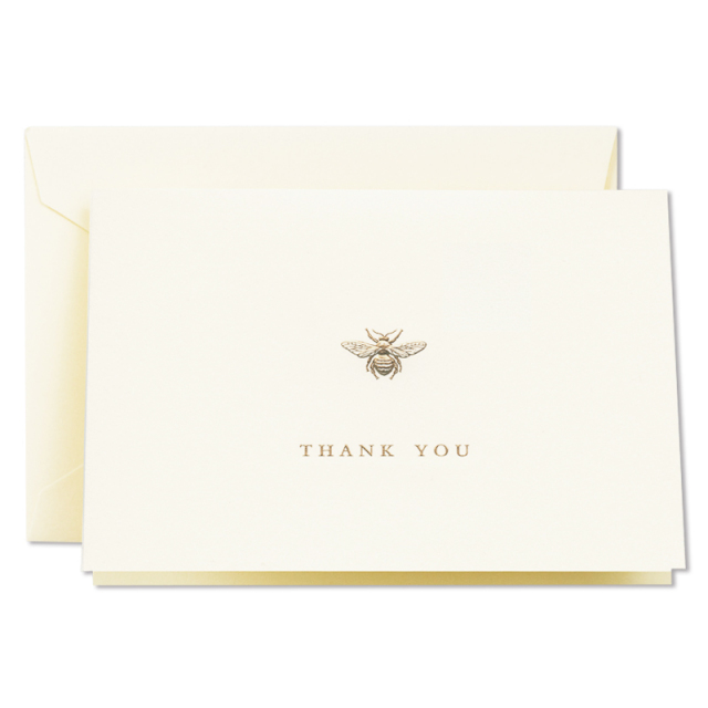 Crane/ボックスカード10枚セット/Engraved Bumble Bee Thank You Note