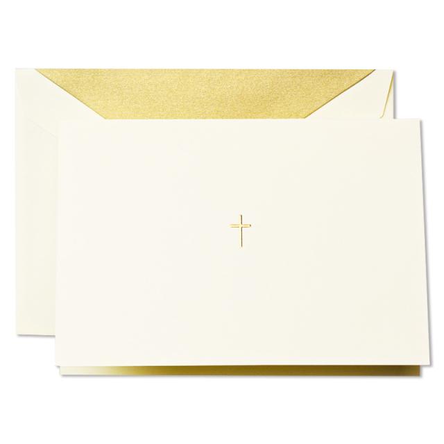 クレイン/ボックスカード10枚セット/Hand Engraved Ecruwhite Gold Cross Note