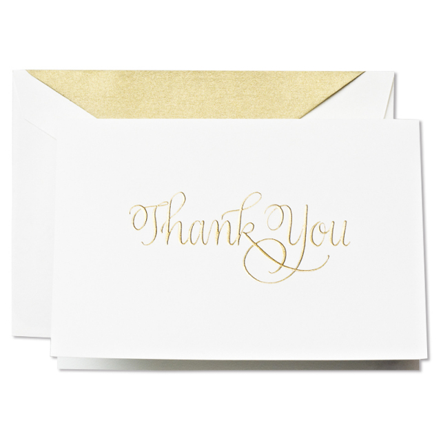 Crane/ボックスカード/Hand Engraved Calligraphic Thank You Notes