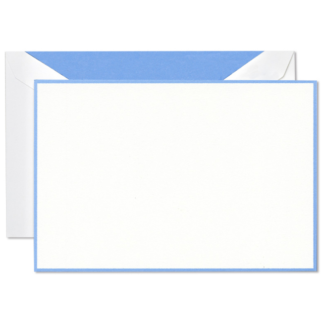 Crane/ボックスカード/Newport Blue Bordered Correspondence Card