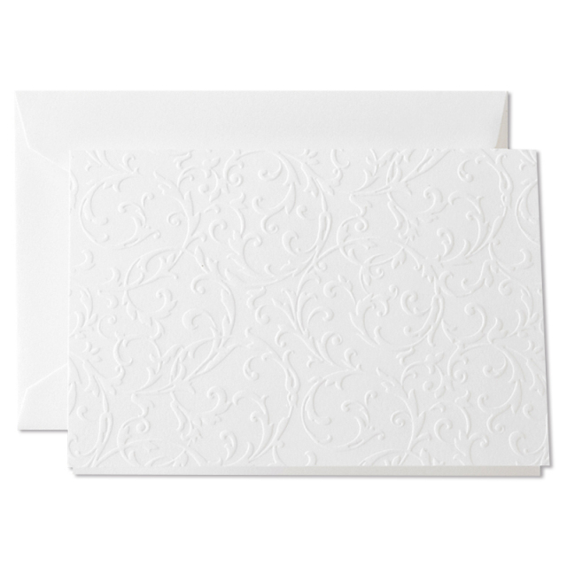 クレイン/ボックスカード/Blind Embossed Notes on Pearl White Kid Finish paper