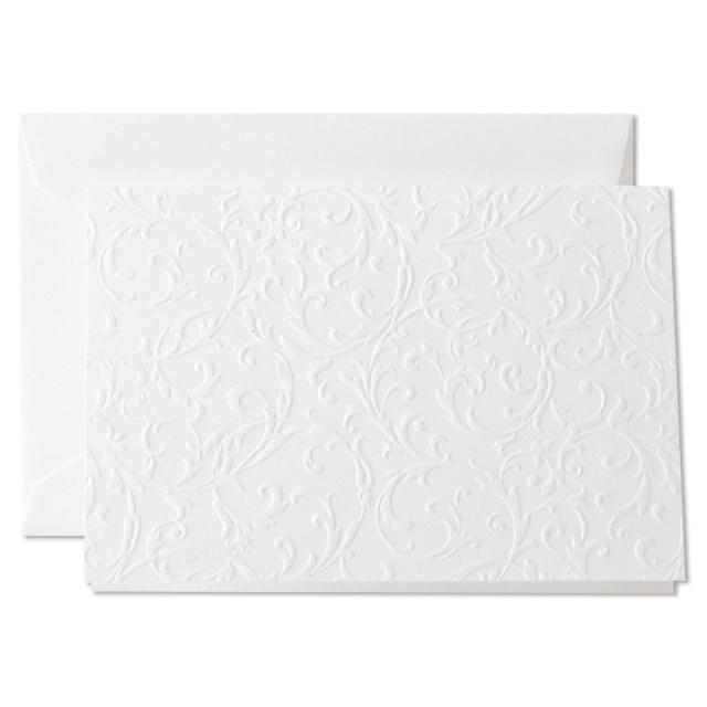 クレイン/ボックスカード/Blind Embossed Notes on Pearl White Kid Finish paper