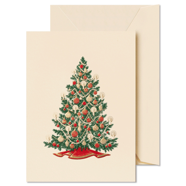 Crane/ミニボックスカード/Engraved Christmas Tree Gift Enclosure