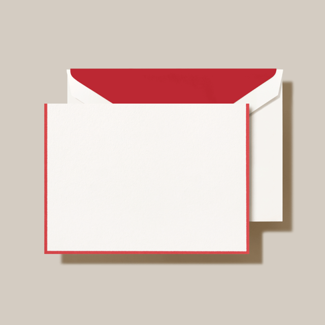 Crane/ボックスカード/Red Border Pearl White Note(10 Cards / 10 Envelopes)