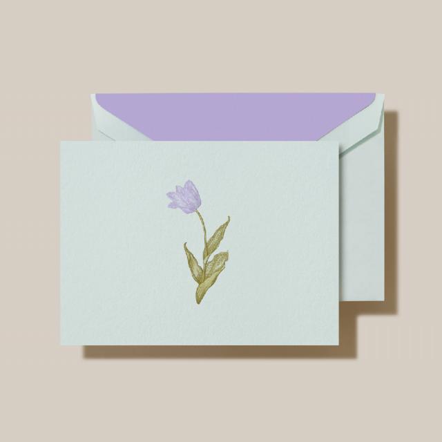 Crane/ボックスカード/Engraved Tulip Note Beach Glass Kid Finish(10 Cards / 10 Envelopes)