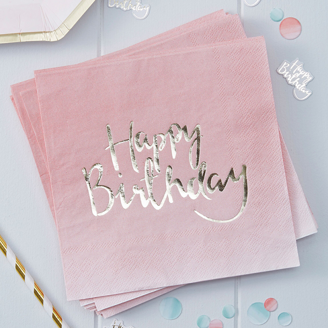 Ginger Ray/ペーパーナプキン/Gold Foiled Pink Ombre Happy Birthday Paper Napkins