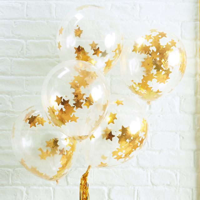 ジンジャーレイ/ゴールド星型コンフェッティ入りバルーン/Gold Star Shaped Confetti Filled Balloons
