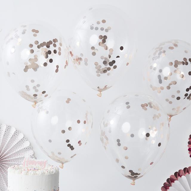 Ginger Ray/ローズゴールドコンフェッティバルーン/Rose Gold Confetti Balloon