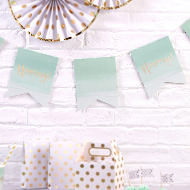 Ginger Ray/ガーランド/Mint Green Ombre & Gold Foiled Paper Bunting