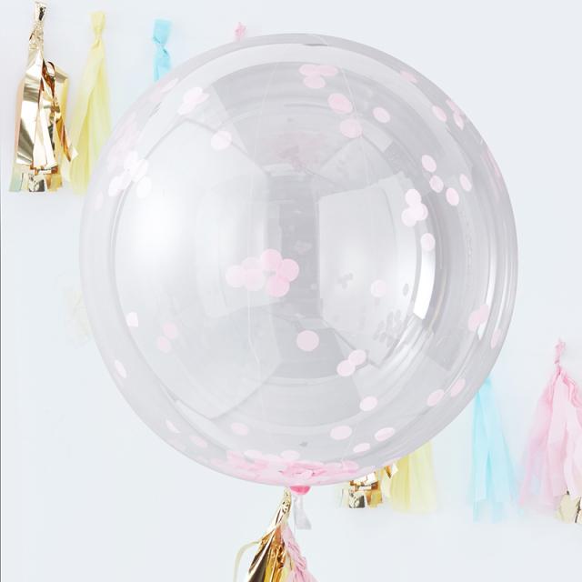 ジンジャーレイ/ビッグコンフェッティバルーン・ピンク/Giant Pink Confetti ORB Balloon
