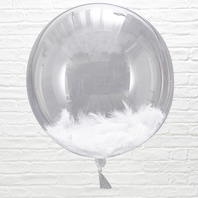 Ginger Ray/フェザーコンフェッティバルーン/White Feather Balloon