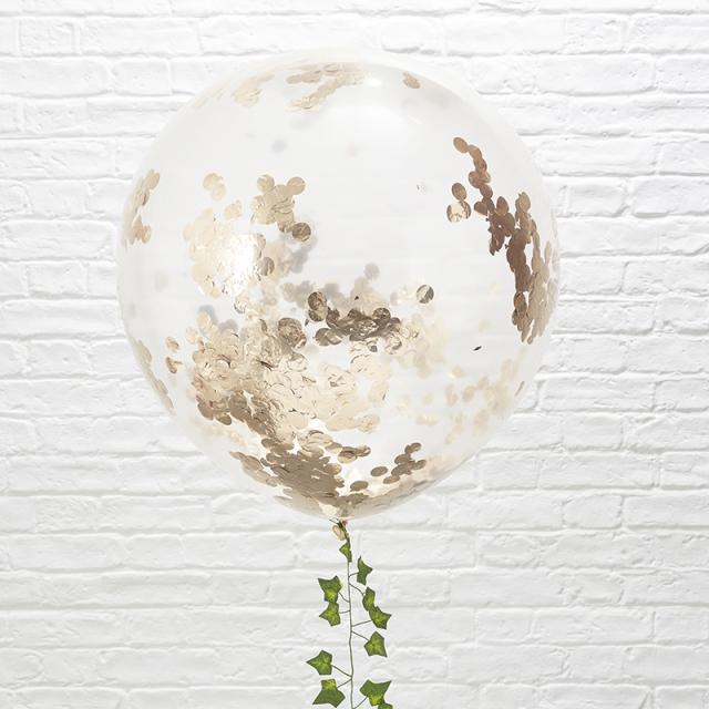 ジンジャーレイ/コンフェッティバルーン/Rose Gold Confetti Big Balloon