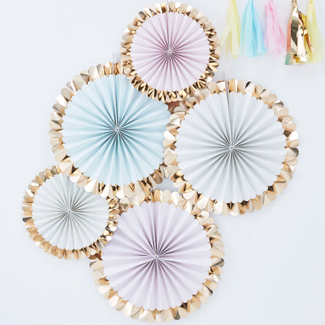 Ginger Ray/ペーパーファン/Gold Foiled Pastel Fan Decorations