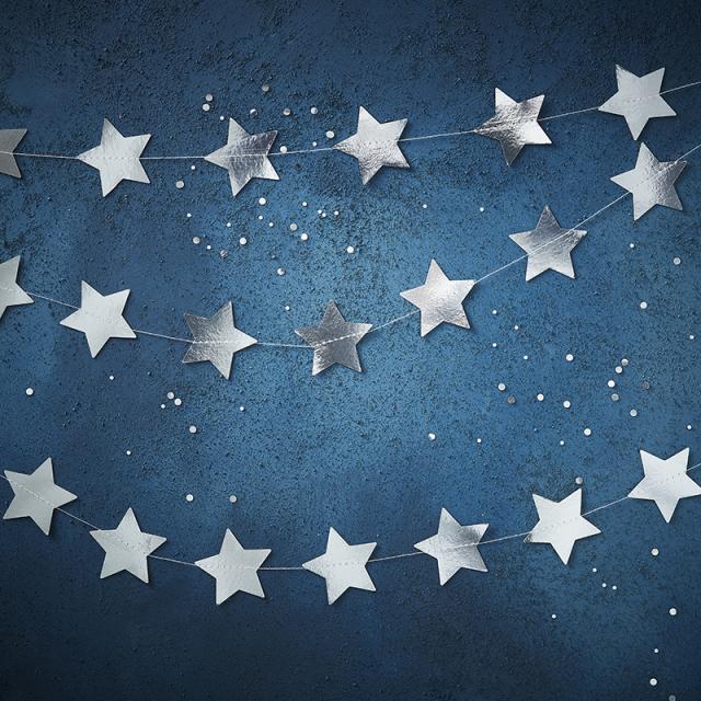 ジンジャーレイ/シルバースターガーランド/Silver foiled star garland