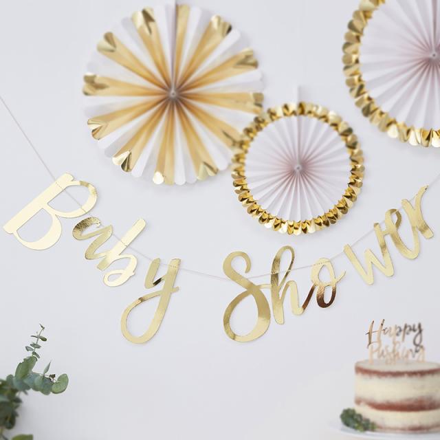 ジンジャーレイ/ガーランド/Gold Foiled Baby Shower Bunting