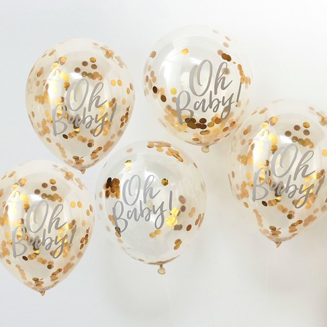Ginger Ray/バルーン/Oh Baby! Printed Gold Confetti Balloons