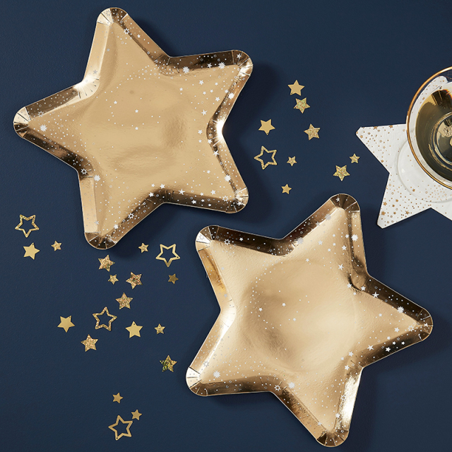 Ginger Ray/ペーパープレート/Gold Star Shaped Paper Party Plates