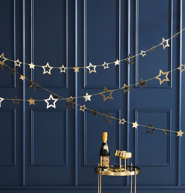 ジンジャーレイ/ガーランド/Gold Foiled Star Hanging Garland Decoration