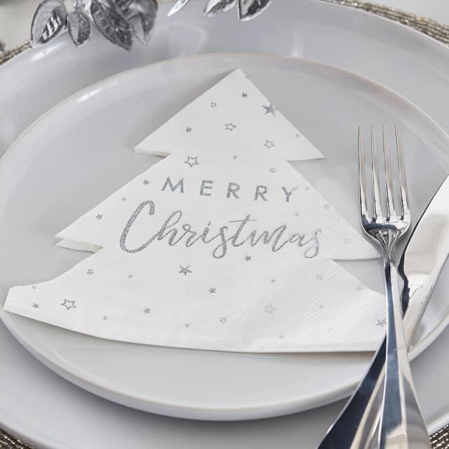 ジンジャーレイ/ペーパーナプキン/Silver Foiled Merry Christmas Paper Napkins