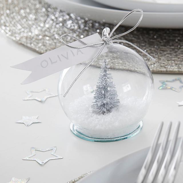 ジンジャーレイ/プレイスカード/Silver Tree Snow Globe Christmas Place Cards
