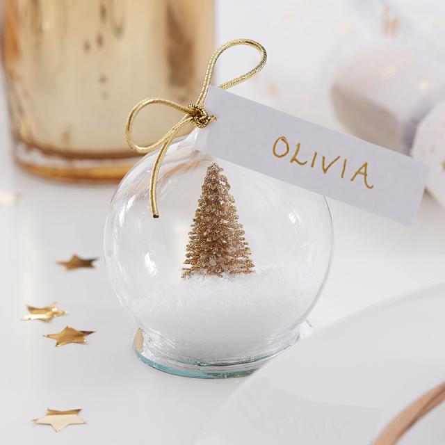 ジンジャーレイ/プレイスカード/Gold Snow Globe Christmas Place Cards