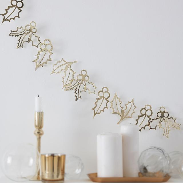 ジンジャーレイ/ガーランド/Gold Holly Christmas Bunting Decoration