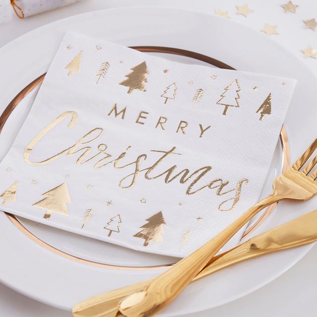 ジンジャーレイ/ペーパーナプキン/Gold Foiled Merry Christmas Paper Napkins