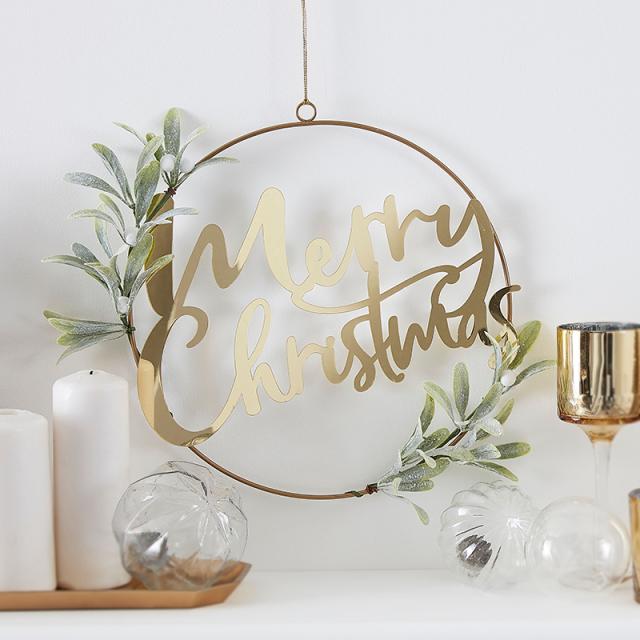ジンジャーレイ/リース/Gold Merry Christmas Door Wreath With Foliage