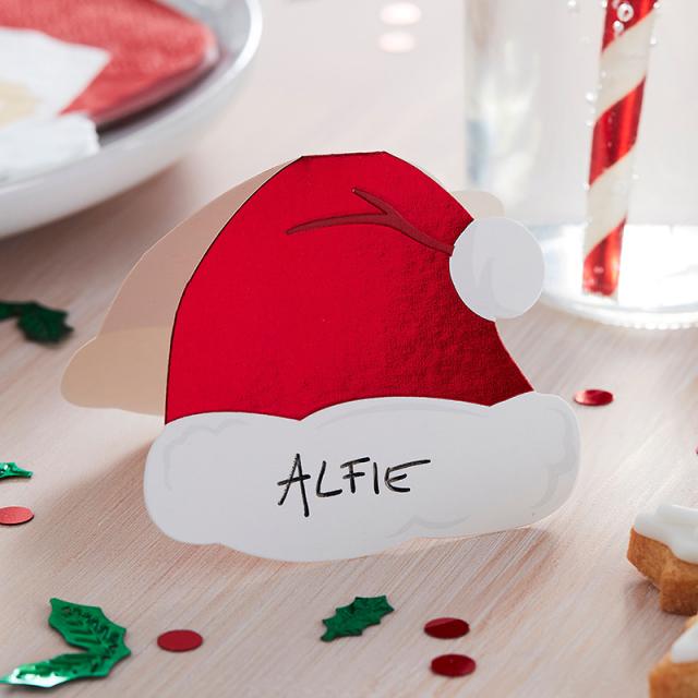 ジンジャーレイ/プレイスカード/Santa Hat Christmas Place Cards