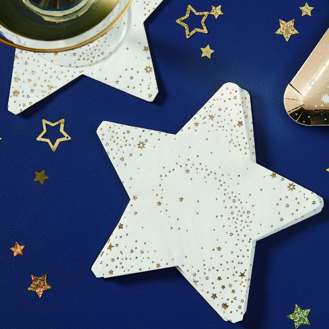 Ginger Ray/ペーパーナプキン/Gold Star Shaped Paper Napkins