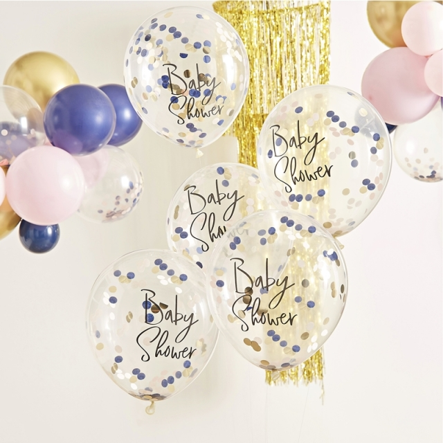 Ginger Ray/バルーン/NAVY PINK & GOLD CONFETTI BABY SHOWER BALLOONS