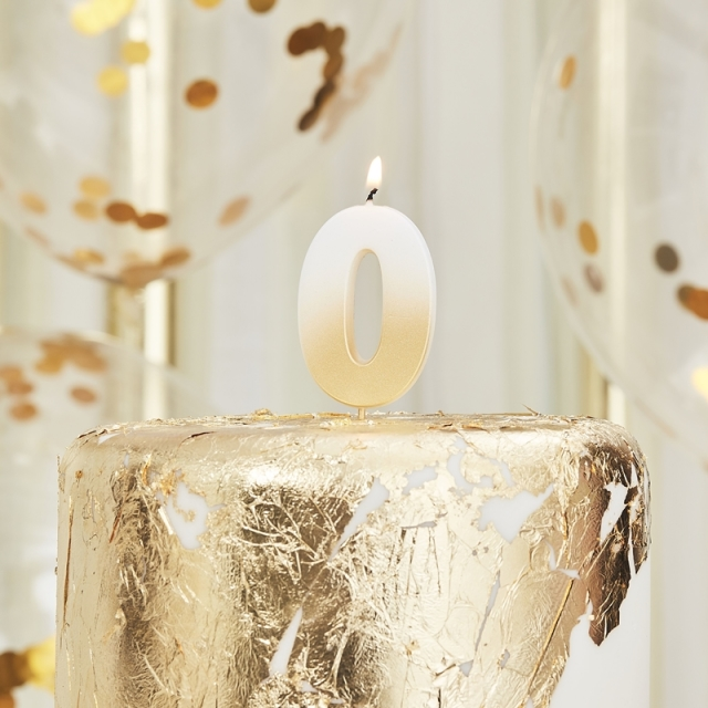 Ginger Ray/キャンドル/GOLD OMBRE 0 NUMBER BIRTHDAY CANDLE