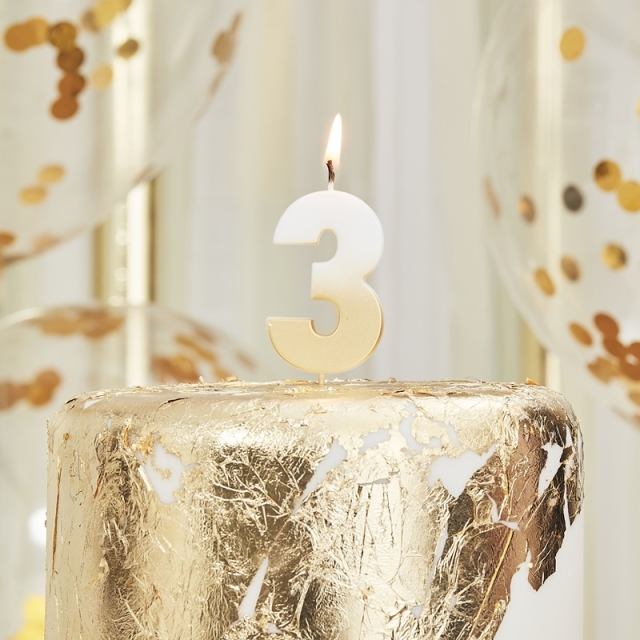 Ginger Ray/キャンドル/GOLD OMBRE 3 NUMBER BIRTHDAY CANDLE