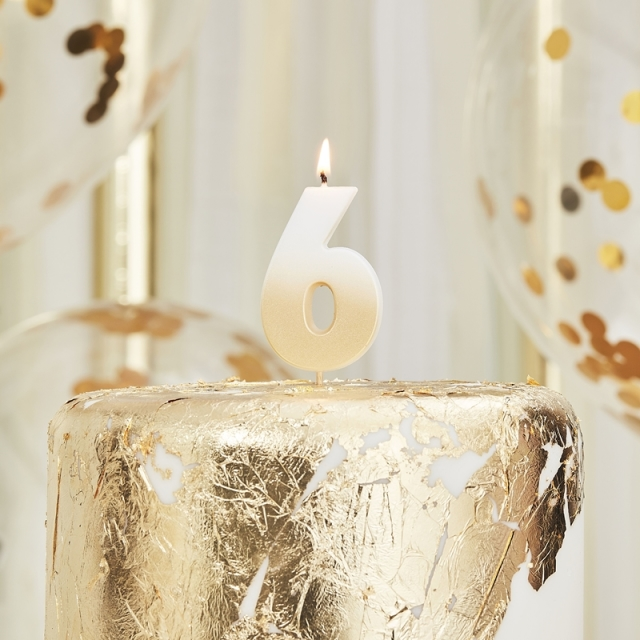 Ginger Ray/キャンドル/GOLD OMBRE 6 NUMBER BIRTHDAY CANDLE