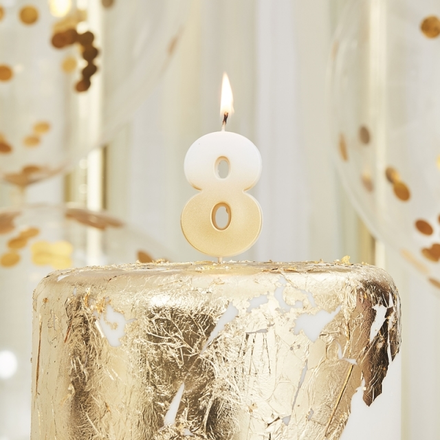 Ginger Ray/キャンドル/GOLD OMBRE 8 NUMBER BIRTHDAY CANDLE