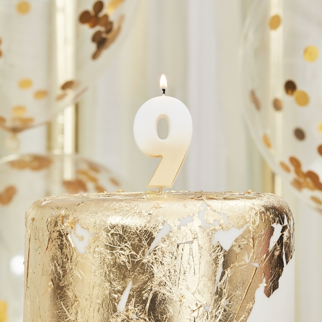 Ginger Ray/キャンドル/GOLD OMBRE 9 NUMBER BIRTHDAY CANDLE
