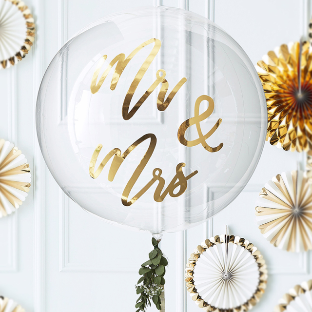ジンジャーレイ/バルーン/Gold Mr & Mrs Orb Balloon Decoration