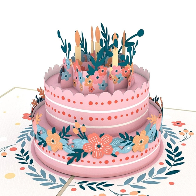 Lovepop/シングルカード/Floral Birthday Cake